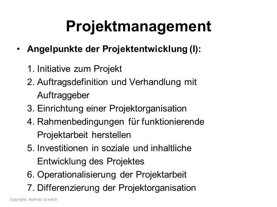 Projektmanagement Angelpunkte der Projektentwicklung (I): 1. Initiative zum Projekt 2. Auftragsdefinition und Verhandlung mit Auftraggeber 3. Einricht