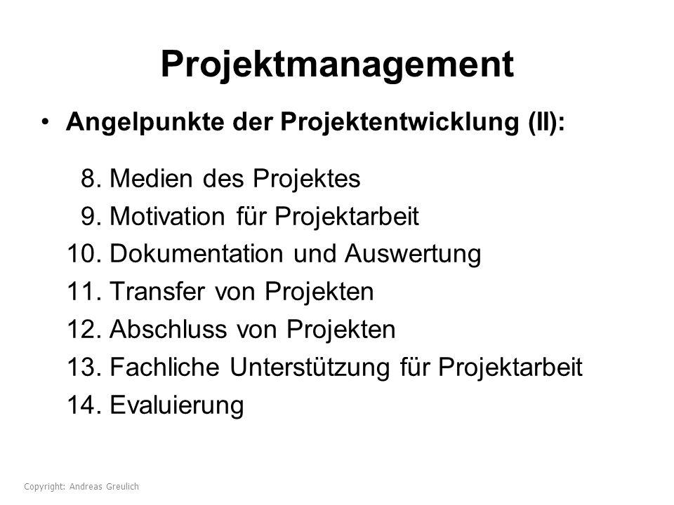 Projektmanagement Angelpunkte der Projektentwicklung (II): 8. Medien des Projektes 9. Motivation für Projektarbeit 10. Dokumentation und Auswertung 11