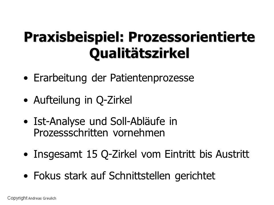 Praxisbeispiel: Prozessorientierte Qualitätszirkel Erarbeitung der Patientenprozesse Aufteilung in Q-Zirkel Ist-Analyse und Soll-Abläufe in Prozesssch