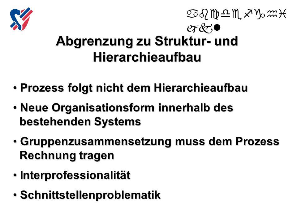 Abgrenzung zu Struktur- und Hierarchieaufbau Prozess folgt nicht dem Hierarchieaufbau Prozess folgt nicht dem Hierarchieaufbau Neue Organisationsform