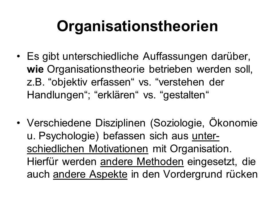 Organisationstheorien Es gibt unterschiedliche Auffassungen darüber, wie Organisationstheorie betrieben werden soll, z.B. objektiv erfassen vs. verste
