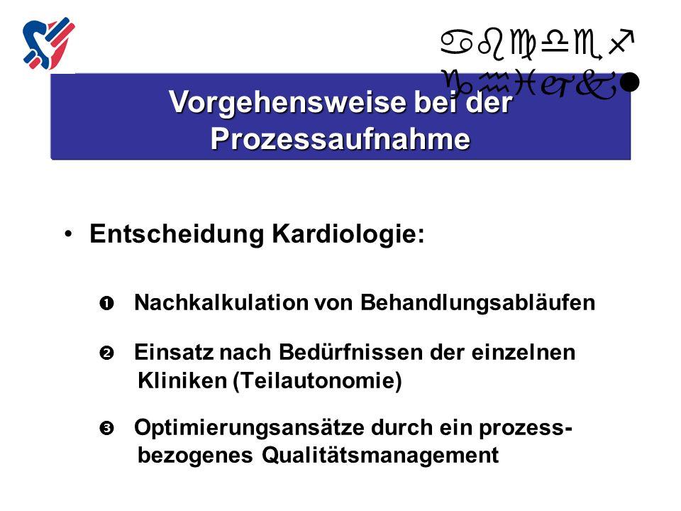 Entscheidung Kardiologie: Nachkalkulation von Behandlungsabläufen Einsatz nach Bedürfnissen der einzelnen Kliniken (Teilautonomie) Optimierungsansätze