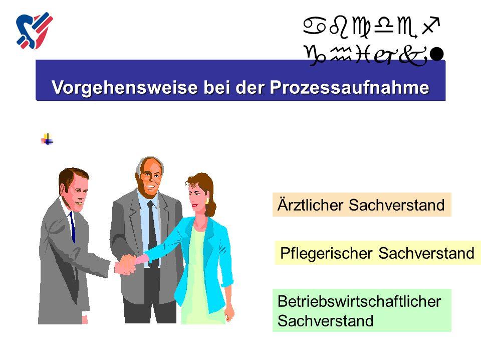 Zusammenstellung der Arbeitsgruppe: Vorgehensweise bei der Prozessaufnahme Ärztlicher Sachverstand Pflegerischer Sachverstand Betriebswirtschaftlicher