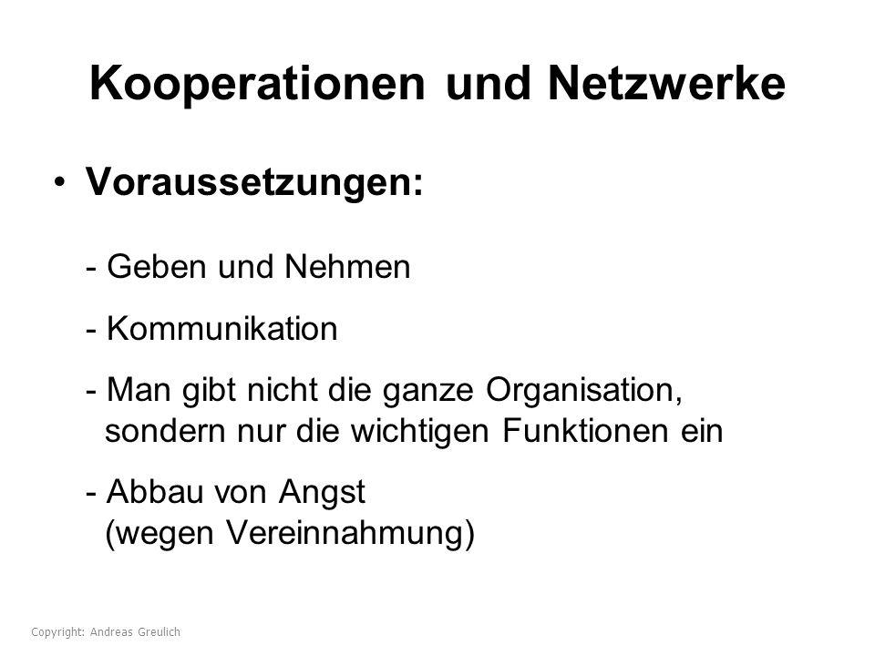 Kooperationen und Netzwerke Voraussetzungen: - Geben und Nehmen - Kommunikation - Man gibt nicht die ganze Organisation, sondern nur die wichtigen Fun