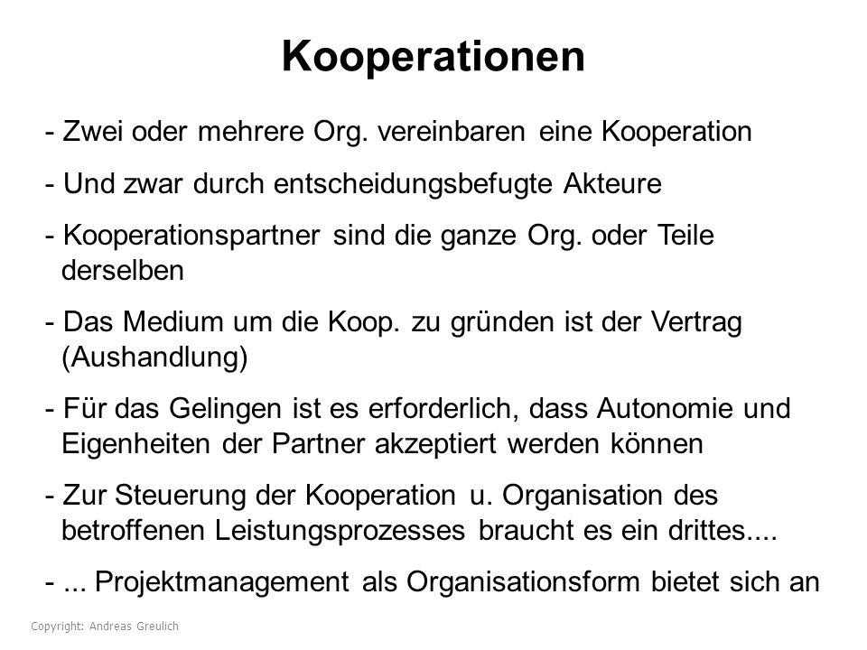 Kooperationen - Zwei oder mehrere Org. vereinbaren eine Kooperation - Und zwar durch entscheidungsbefugte Akteure - Kooperationspartner sind die ganze