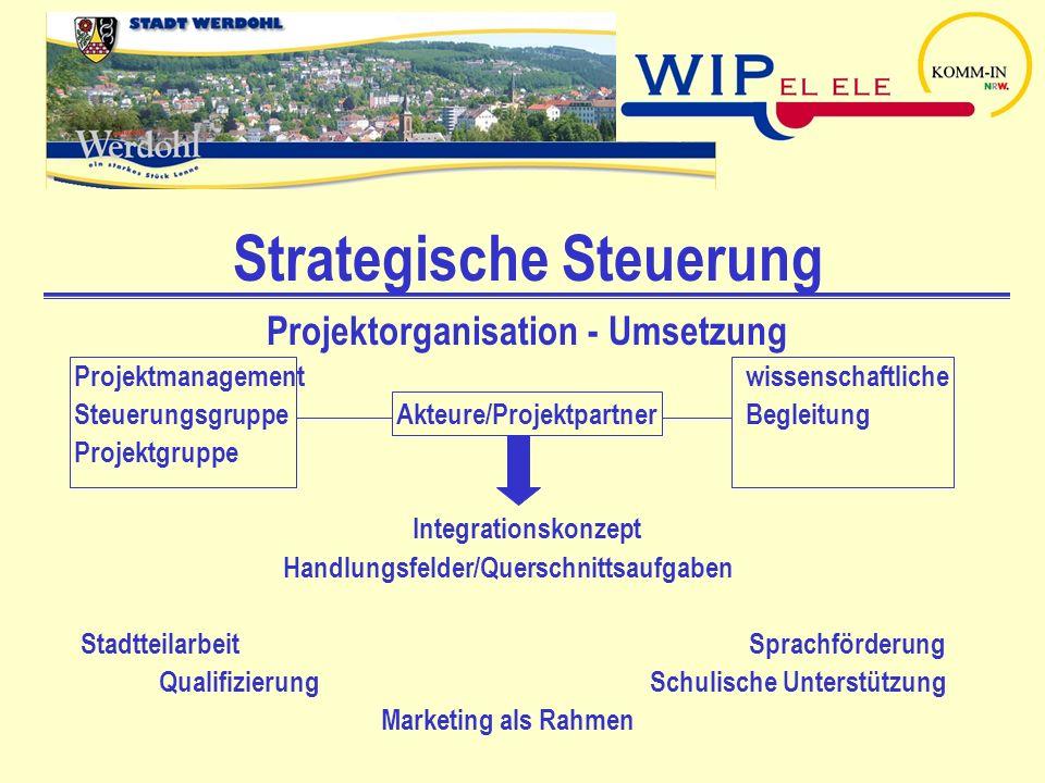 Strategische Steuerung Projektorganisation - Umsetzung Projektmanagement wissenschaftliche Steuerungsgruppe Akteure/Projektpartner Begleitung Projektg