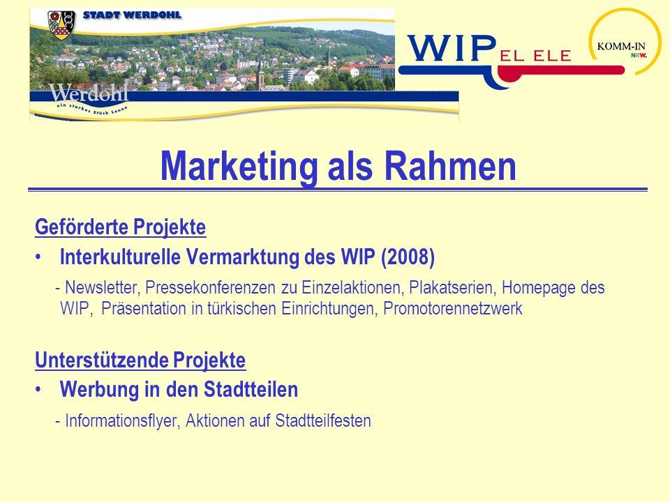 Marketing als Rahmen Geförderte Projekte Interkulturelle Vermarktung des WIP (2008) - Newsletter, Pressekonferenzen zu Einzelaktionen, Plakatserien, H