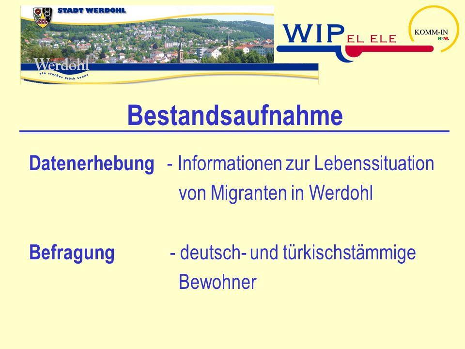 Bestandsaufnahme Datenerhebung - Informationen zur Lebenssituation von Migranten in Werdohl Befragung - deutsch- und türkischstämmige Bewohner