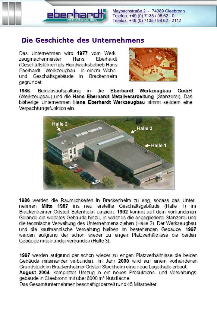 Die Geschichte des Unternehmens 1986: Betriebsaufspaltung in die Eberhardt Werkzeugbau GmbH (Werkzeugbau) und die Hans Eberhardt Metallverarbeitung (Stanzerei).