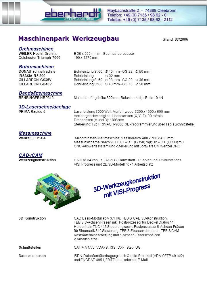 Maschinenpark Werkzeugbau Stand: 07/2006 Drehmaschinen WEILER Hochl.-Drehm.E 35 x 950 mm m.