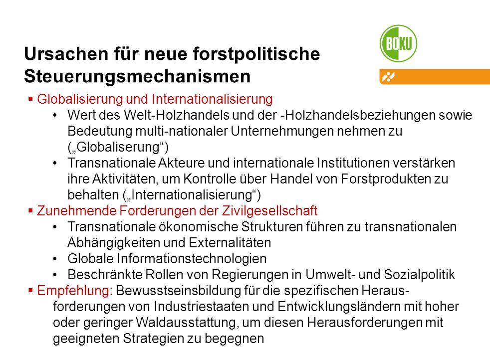Ursachen für neue forstpolitische Steuerungsmechanismen Globalisierung und Internationalisierung Wert des Welt-Holzhandels und der -Holzhandelsbeziehungen sowie Bedeutung multi-nationaler Unternehmungen nehmen zu (Globaliserung) Transnationale Akteure und internationale Institutionen verstärken ihre Aktivitäten, um Kontrolle über Handel von Forstprodukten zu behalten (Internationalisierung) Zunehmende Forderungen der Zivilgesellschaft Transnationale ökonomische Strukturen führen zu transnationalen Abhängigkeiten und Externalitäten Globale Informationstechnologien Beschränkte Rollen von Regierungen in Umwelt- und Sozialpolitik Empfehlung: Bewusstseinsbildung für die spezifischen Heraus- forderungen von Industriestaaten und Entwicklungsländern mit hoher oder geringer Waldausstattung, um diesen Herausforderungen mit geeigneten Strategien zu begegnen