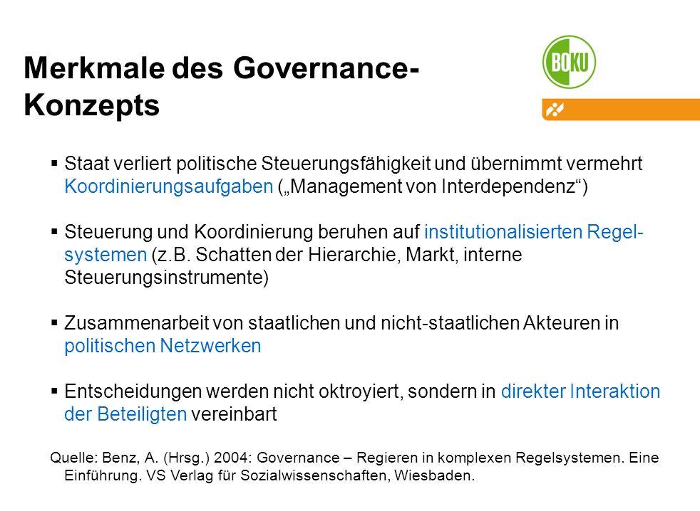 Merkmale des Governance- Konzepts Staat verliert politische Steuerungsfähigkeit und übernimmt vermehrt Koordinierungsaufgaben (Management von Interdependenz) Steuerung und Koordinierung beruhen auf institutionalisierten Regel- systemen (z.B.
