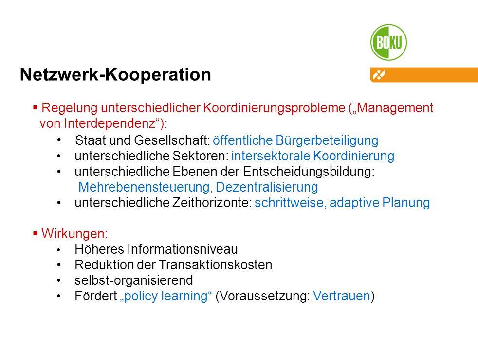 Netzwerk-Kooperation Regelung unterschiedlicher Koordinierungsprobleme (Management von Interdependenz): Staat und Gesellschaft: öffentliche Bürgerbete