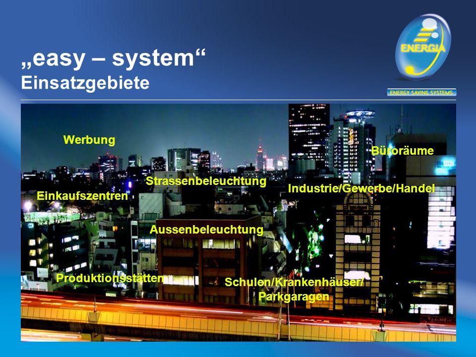 easy – system Einsatzgebiete Werbung Strassenbeleuchtung Büroräume Einkaufszentren Produktionsstätten Aussenbeleuchtung Industrie/Gewerbe/Handel Schulen/Krankenhäuser/ Parkgaragen