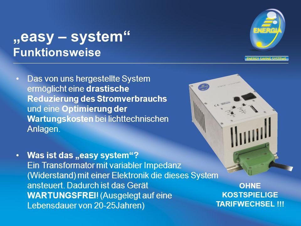 easy – system Kostenvorteile Energieeinsparungspotential bis zu 40% und daher eine Reduzierung der CO 2 Emissionen Reduzierung der Betriebstemperatur der Beleuchtungskörper und daher eine Steigerung der Lebensdauer von den jeweiligen Leuchtmitteln bis zu 250% Reduzierung der Wartungskosten bis zu 50%