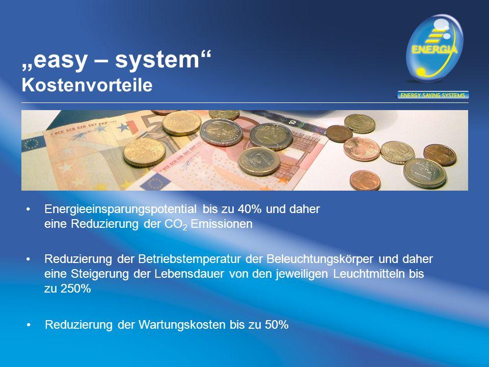 easy – system Kostenvorteile Energieeinsparungspotential bis zu 40% und daher eine Reduzierung der CO 2 Emissionen Reduzierung der Betriebstemperatur