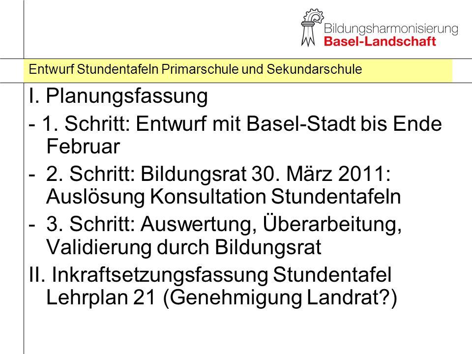 Entwurf Stundentafeln Primarschule und Sekundarschule I. Planungsfassung - 1. Schritt: Entwurf mit Basel-Stadt bis Ende Februar -2. Schritt: Bildungsr