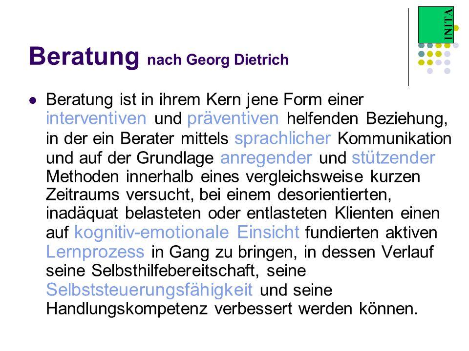 INITA Beratung nach Georg Dietrich Beratung ist in ihrem Kern jene Form einer interventiven und präventiven helfenden Beziehung, in der ein Berater mi