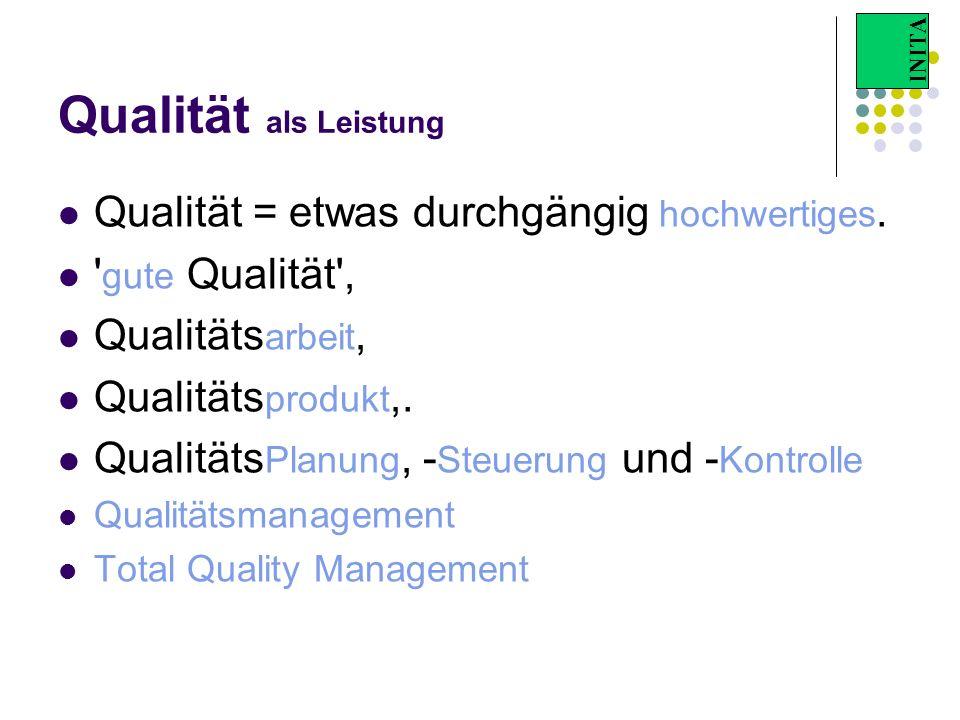 INITA Qualität als Leistung Qualität = etwas durchgängig hochwertiges. ' gute Qualität', Qualitäts arbeit, Qualitäts produkt,. Qualitäts Planung, - St