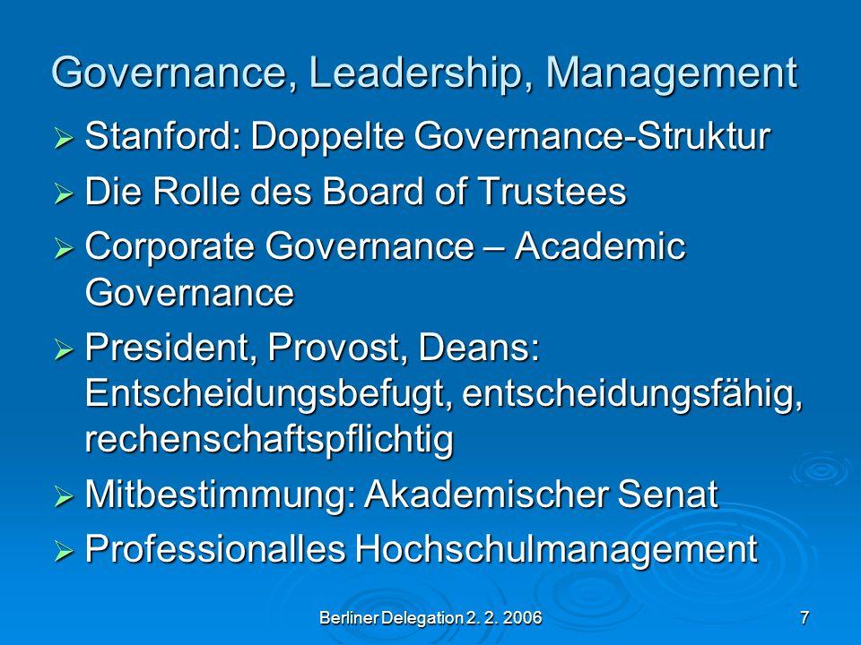 Berliner Delegation 2. 2. 20067 Governance, Leadership, Management Stanford: Doppelte Governance-Struktur Stanford: Doppelte Governance-Struktur Die R