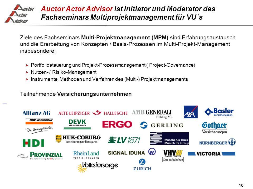 10 Auctor Actor Advisor ist Initiator und Moderator des Fachseminars Multiprojektmanagement für VU´s Ziele des Fachseminars Multi-Projektmanagement (MPM) sind Erfahrungsaustausch und die Erarbeitung von Konzepten / Basis-Prozessen im Multi-Projekt-Management insbesondere: Portfoliosteuerung und Projekt-Prozessmanagement ( Project-Governance) Nutzen- / Risiko-Management Instrumente, Methoden und Verfahren des (Multi-) Projektmanagements Teilnehmende Versicherungsunternehmen Allianz AG