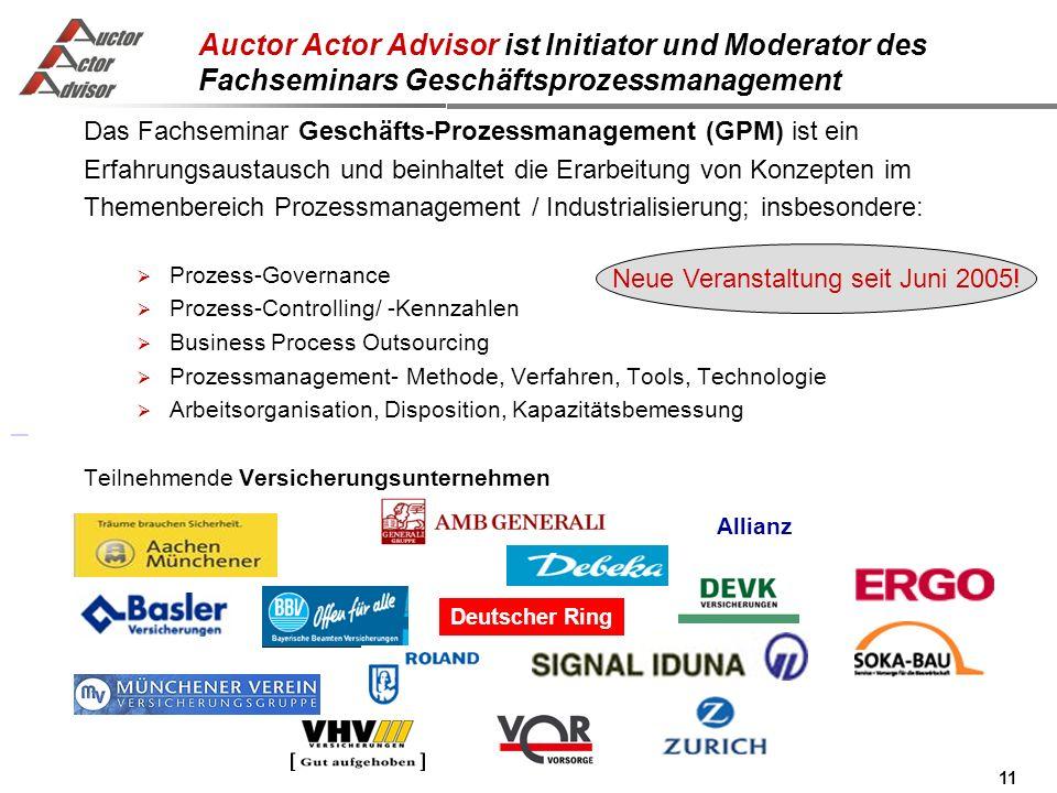 11 Auctor Actor Advisor ist Initiator und Moderator des Fachseminars Geschäftsprozessmanagement Neue Veranstaltung seit Juni 2005.