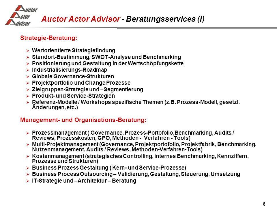 6 Auctor Actor Advisor - Beratungsservices (I) Strategie-Beratung: Wertorientierte Strategiefindung Standort-Bestimmung, SWOT-Analyse und Benchmarking Positionierung und Gestaltung in der Wertschöpfungskette Industrialisierungs-Roadmap Globale Governance-Strukturen Projektportfolio und Change Prozesse Zielgruppen-Strategie und –Segmentierung Produkt- und Service-Strategien Referenz-Modelle / Workshops spezifische Themen (z.B.