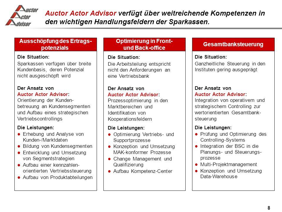 8 Auctor Actor Advisor verfügt über weitreichende Kompetenzen in den wichtigen Handlungsfeldern der Sparkassen.