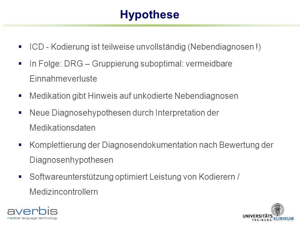 Hypothese ICD - Kodierung ist teilweise unvollständig (Nebendiagnosen !) In Folge: DRG – Gruppierung suboptimal: vermeidbare Einnahmeverluste Medikati