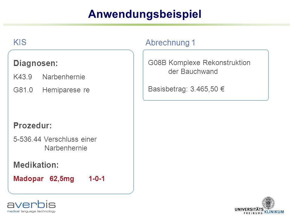 Anwendungsbeispiel G08B Komplexe Rekonstruktion der Bauchwand Basisbetrag: 3.465,50 KIS Abrechnung 1 Diagnosen: K43.9 Narbenhernie G81.0Hemiparese re G20.21M.