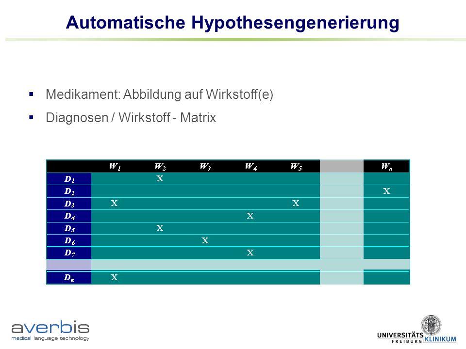 Automatische Hypothesengenerierung Medikament: Abbildung auf Wirkstoff(e) Diagnosen / Wirkstoff - Matrix