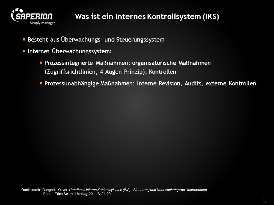 Was ist ein Internes Kontrollsystem (IKS) Besteht aus Überwachungs- und Steuerungssystem Internes Überwachungssystem: Prozessintegrierte Maßnahmen: or
