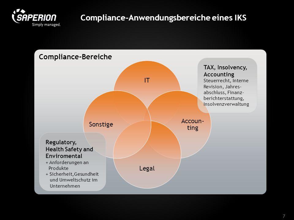 Compliance-Anwendungsbereiche eines IKS 7 Compliance-Bereiche IT Accoun- ting Legal Sonstige TAX, Insolvency, Accounting Steuerrecht, Interne Revision