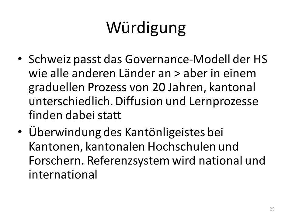 Würdigung Schweiz passt das Governance-Modell der HS wie alle anderen Länder an > aber in einem graduellen Prozess von 20 Jahren, kantonal unterschiedlich.