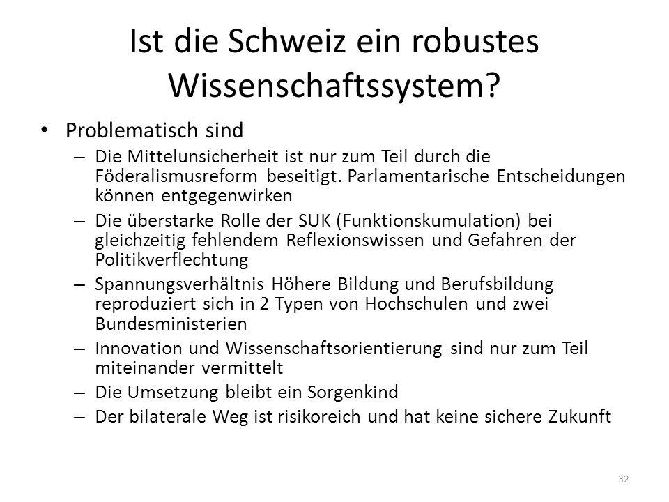 Ist die Schweiz ein robustes Wissenschaftssystem.