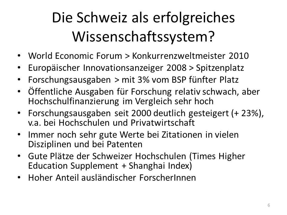 Die Schweiz als erfolgreiches Wissenschaftssystem.