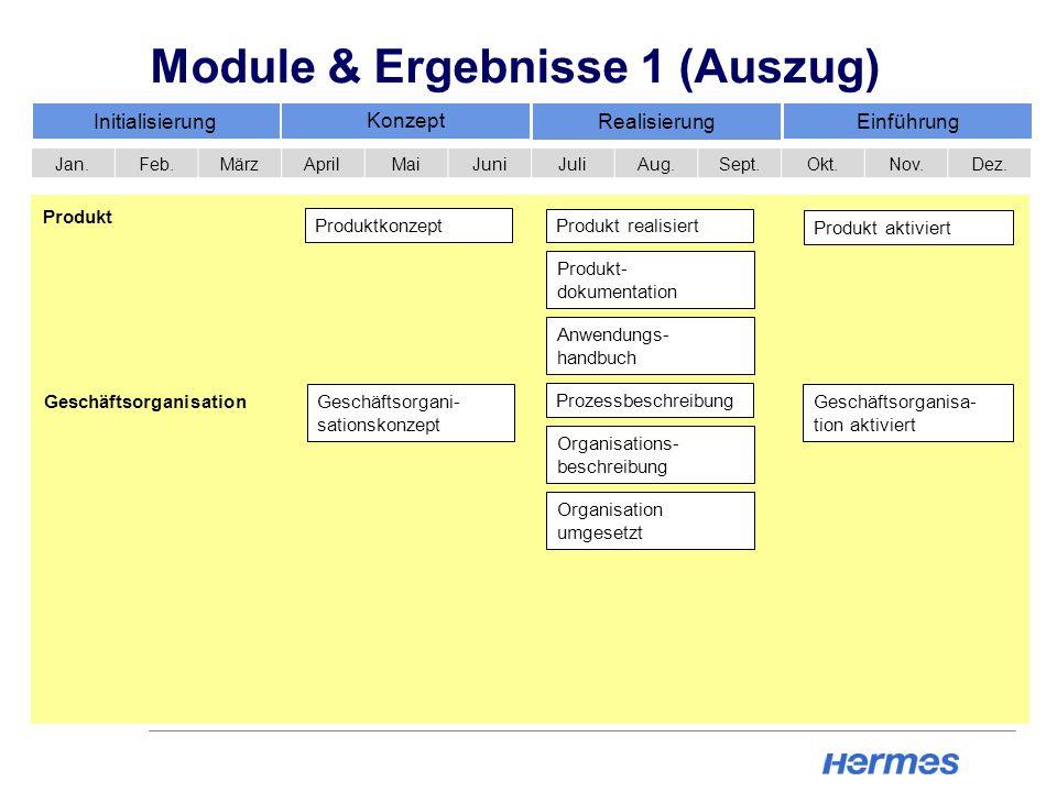 Module & Ergebnisse 1 (Auszug) Initialisierung Konzept Realisierung Einführung Jan.Feb.MärzAprilMaiJuniJuliAug.Sept.Okt.Nov.Dez. Geschäftsorgani- sati