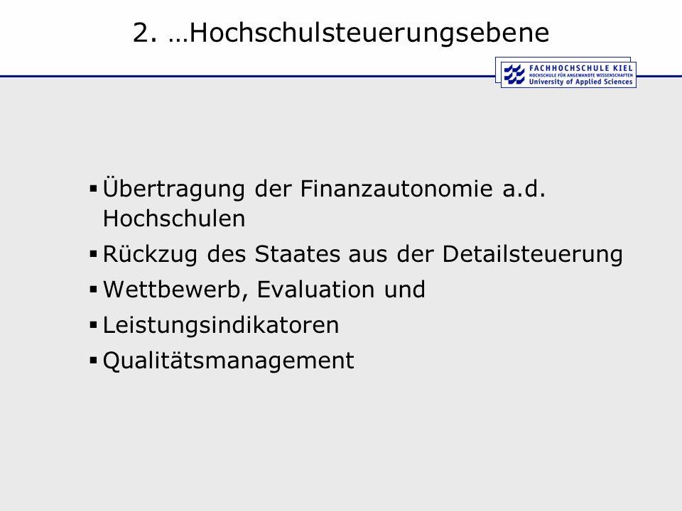 2. …Hochschulsteuerungsebene Übertragung der Finanzautonomie a.d. Hochschulen Rückzug des Staates aus der Detailsteuerung Wettbewerb, Evaluation und L