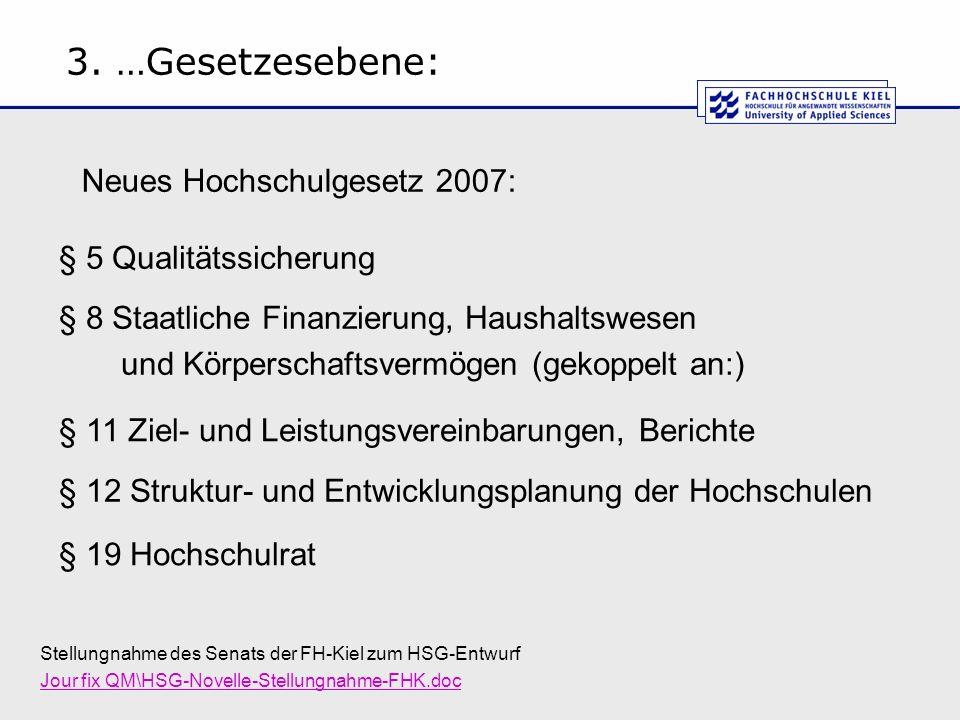 3. …Gesetzesebene: Stellungnahme des Senats der FH-Kiel zum HSG-Entwurf Jour fix QM\HSG-Novelle-Stellungnahme-FHK.doc § 5 Qualitätssicherung § 8 Staat