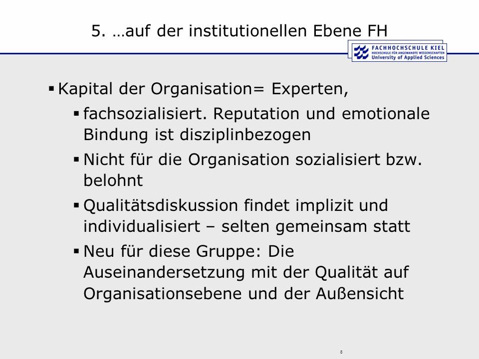 5. …auf der institutionellen Ebene FH Kapital der Organisation= Experten, fachsozialisiert. Reputation und emotionale Bindung ist disziplinbezogen Nic