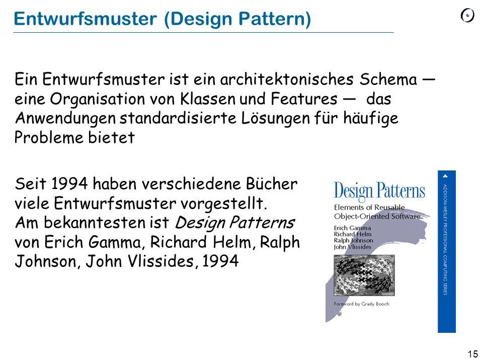 15 Entwurfsmuster (Design Pattern) Ein Entwurfsmuster ist ein architektonisches Schema eine Organisation von Klassen und Features das Anwendungen stan