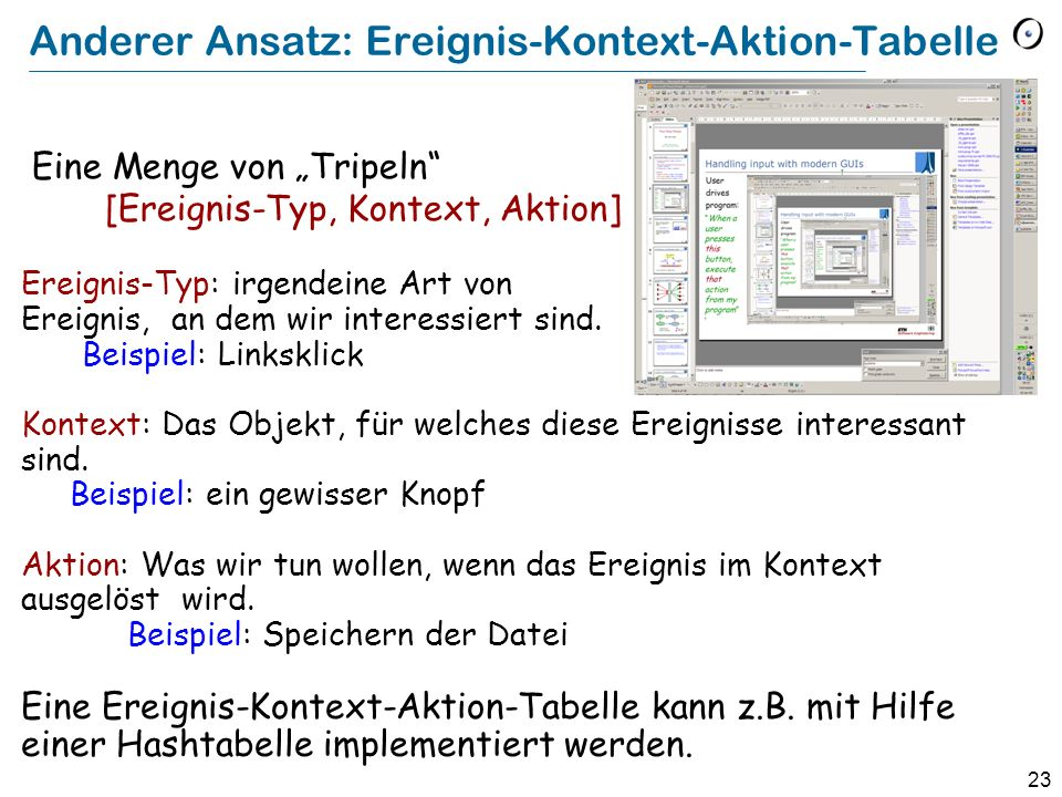 23 Anderer Ansatz: Ereignis-Kontext-Aktion-Tabelle Eine Menge von Tripeln [Ereignis-Typ, Kontext, Aktion] Ereignis-Typ: irgendeine Art von Ereignis, a