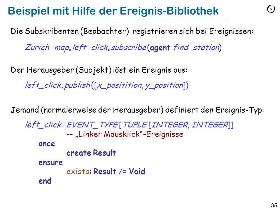 35 Beispiel mit Hilfe der Ereignis-Bibliothek Die Subskribenten (Beobachter) registrieren sich bei Ereignissen: Zurich_map. left_click. subscribe (age