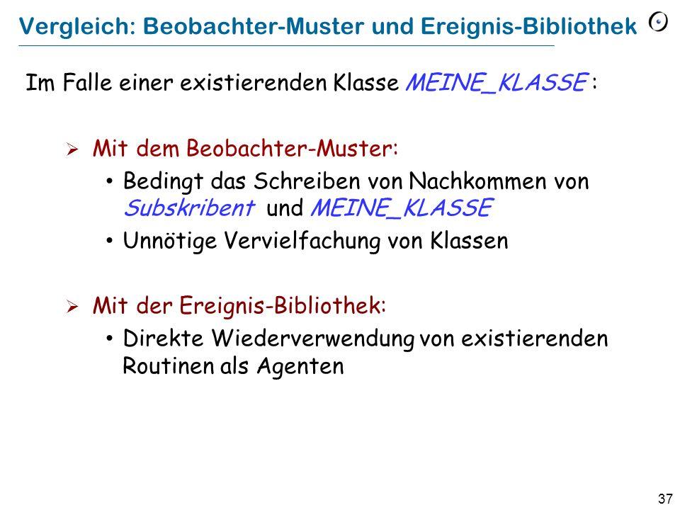 37 Vergleich: Beobachter-Muster und Ereignis-Bibliothek Im Falle einer existierenden Klasse MEINE_KLASSE : Mit dem Beobachter-Muster: Bedingt das Schr