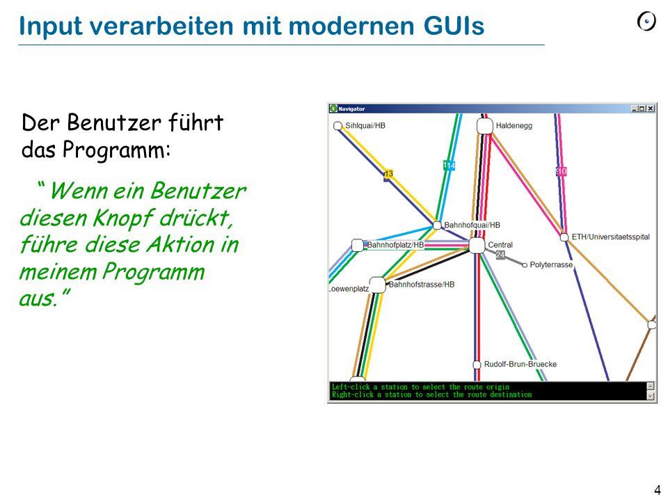 4 Input verarbeiten mit modernen GUIs Der Benutzer führt das Programm: Wenn ein Benutzer diesen Knopf drückt, führe diese Aktion in meinem Programm au