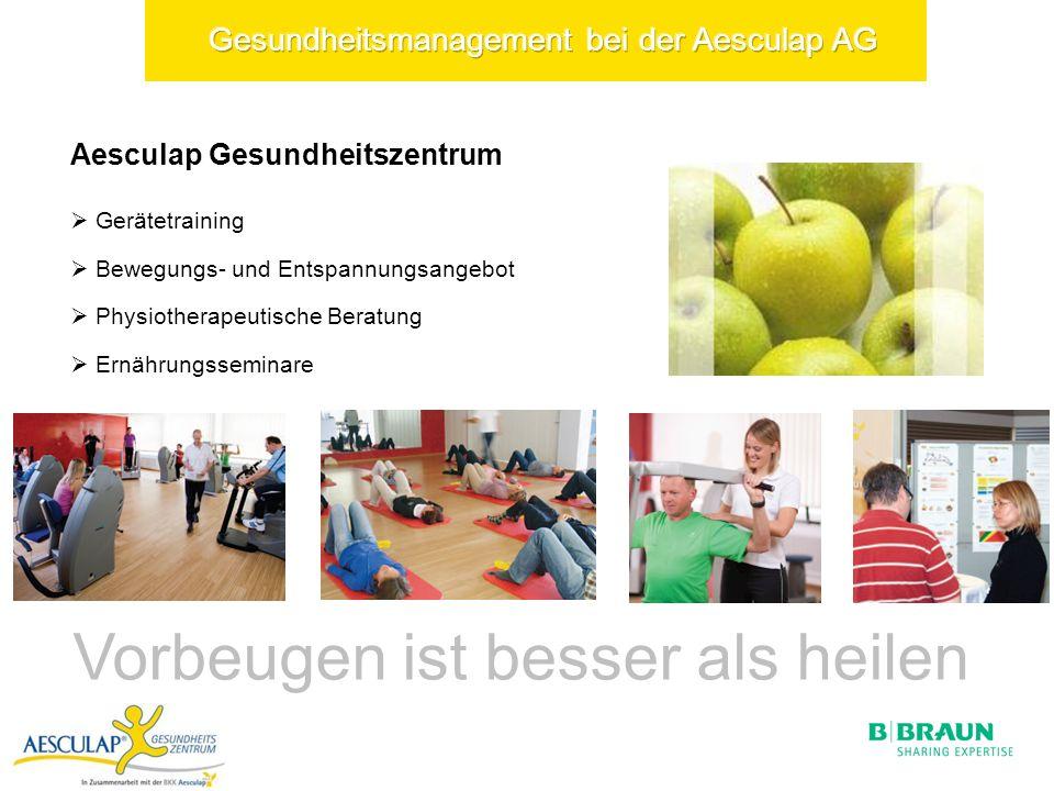 Aesculap Gesundheitszentrum Gerätetraining Bewegungs- und Entspannungsangebot Physiotherapeutische Beratung Ernährungsseminare Vorbeugen ist besser als heilen