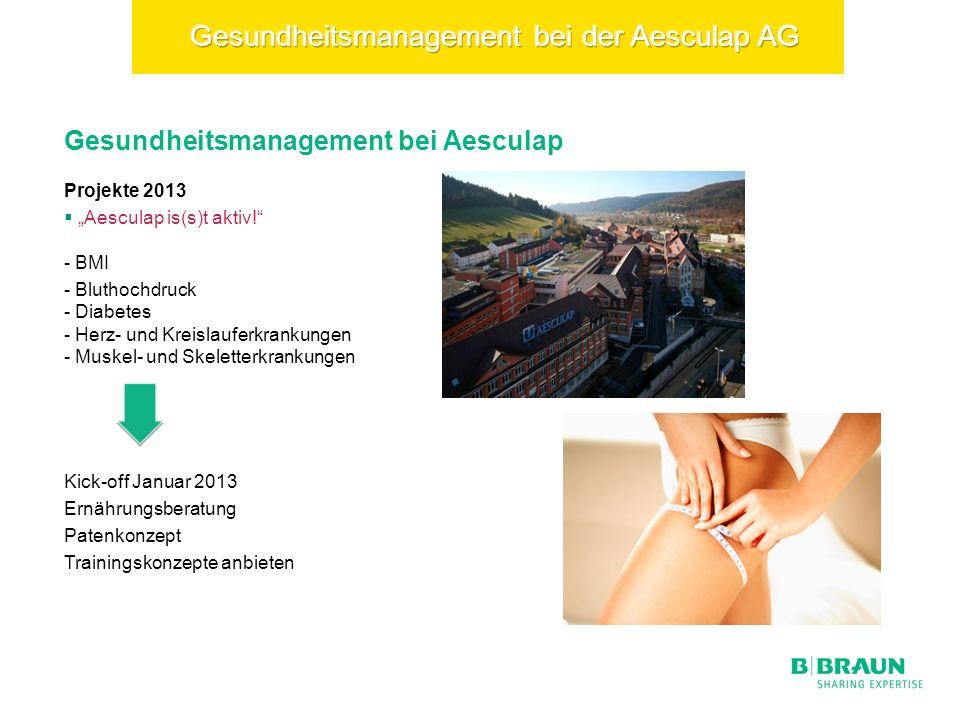 Gesundheitsmanagement bei Aesculap Projekte 2013 Aesculap is(s)t aktiv.