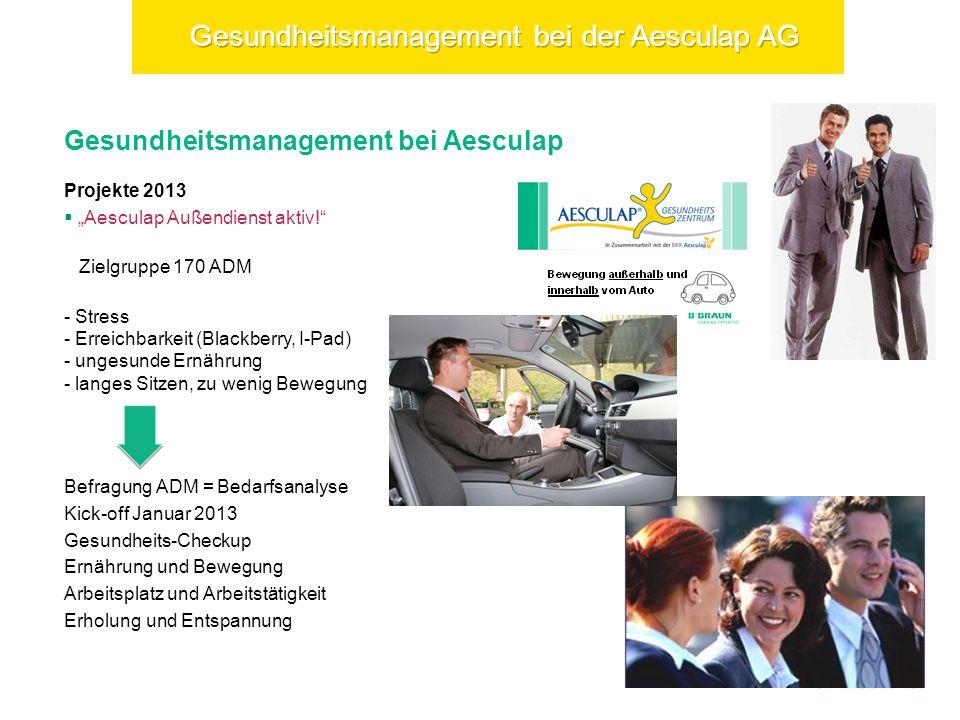 Gesundheitsmanagement bei Aesculap Projekte 2013 Aesculap Außendienst aktiv.