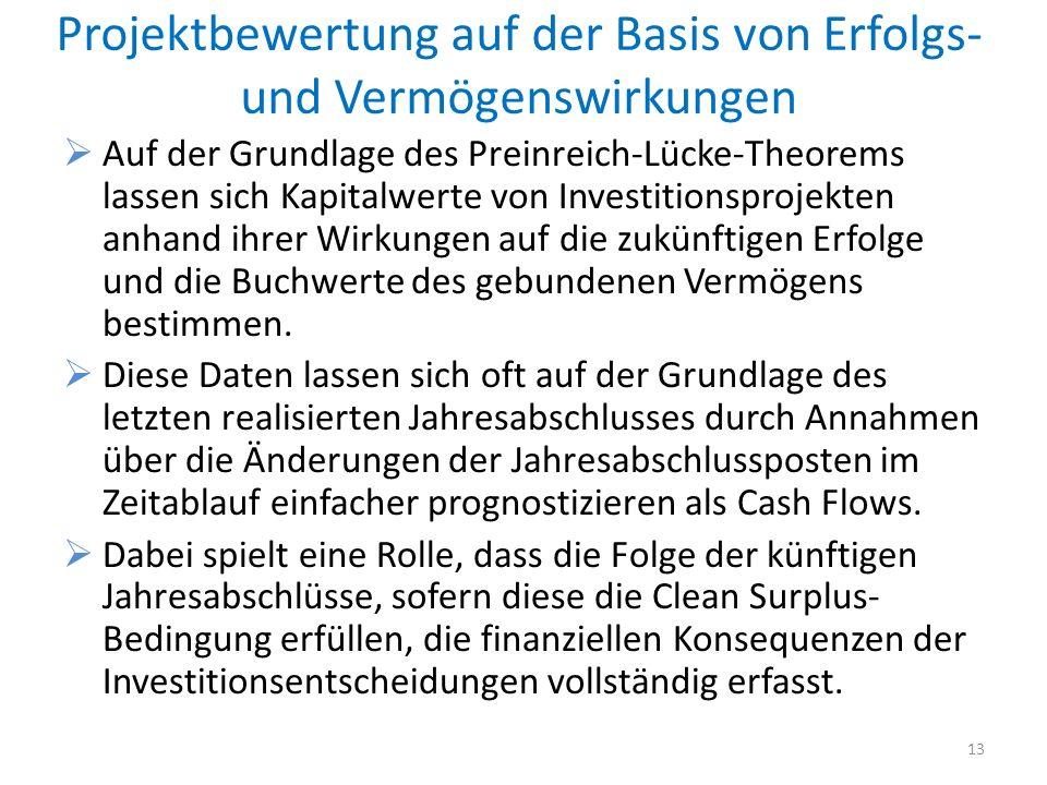 Projektbewertung auf der Basis von Erfolgs- und Vermögenswirkungen Auf der Grundlage des Preinreich-Lücke-Theorems lassen sich Kapitalwerte von Invest