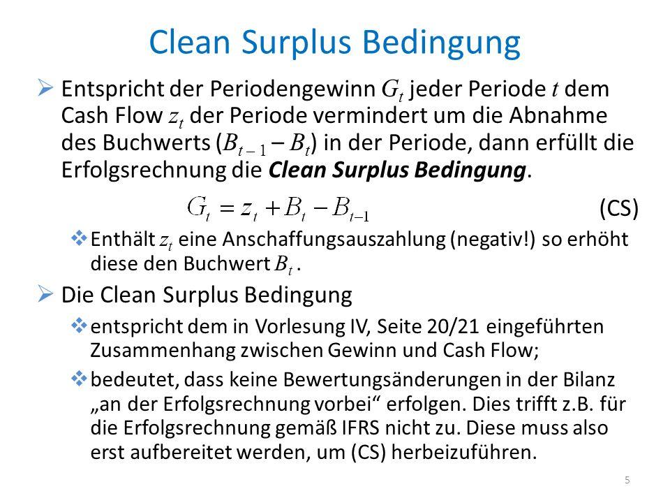 Clean Surplus Bedingung Entspricht der Periodengewinn G t jeder Periode t dem Cash Flow z t der Periode vermindert um die Abnahme des Buchwerts ( B t